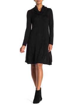 Fit & Flare Cowl Neck Knit Dress by Sandra Darren