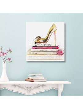 Oliver Gal 'gold Shoe And Fashion Books' Glam Gallery Wrapped Canvas Art by Oliver Gal