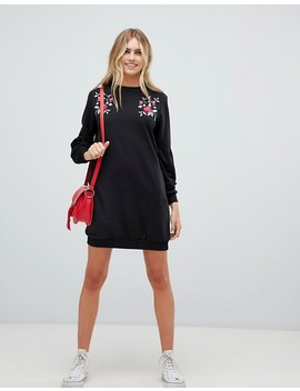 Qed London Embroidery Sweatshirt Dress by Dress