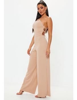 Nude Strappy Back Wide Leg Jumpsuit by Missguided