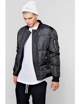 Puffer Jacket With Bomber Neck by Boohoo