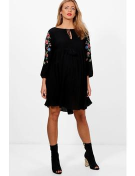 Maternity Embroidered Sleeve Smock Dress by Boohoo