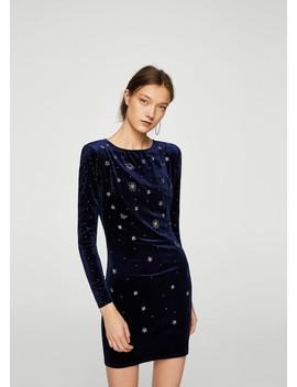 Φόρεμα βελούδινο εμπριμέ by Mango
