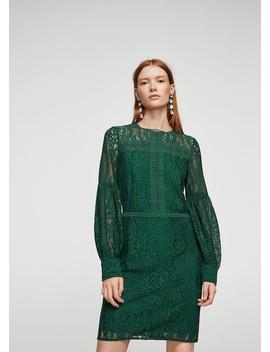 Φόρεμα γκιπούρ φουσκωτό μανίκι by Mango