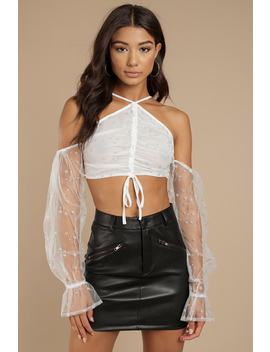 Ziggy Stardust White Glitter Crop Top by Tobi
