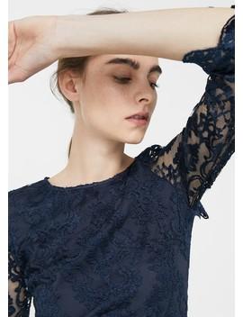 Φόρεμα δαντέλα κεντητό by Mango