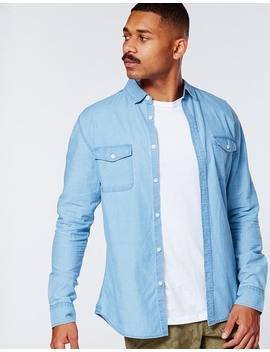 Absent Roth Denim Long Sleeve Shirt In Light Blue by Hallenstein Brothers