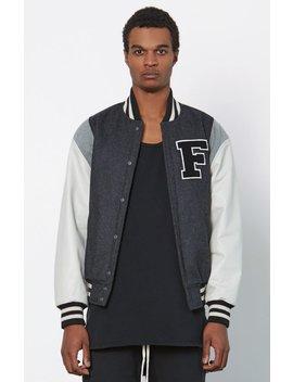 Fog   Fear Of God Wool Leather Sleeve Varsity Jacket by Pacsun