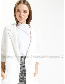 Ecru   Unlined   Jacket by Modanisa