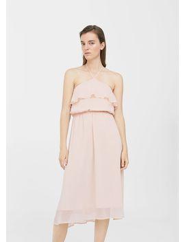 Φόρεμα  γάζα με βολάν by Mango