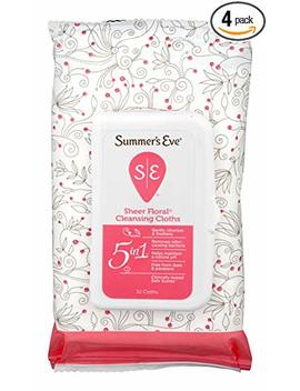 Summer's Eve Cleansing Cloths | Sheer Floral |32 Count | Pack Of 4 | P H Balanced, Dermatologist & Gynecologist Tested by Summer's Eve