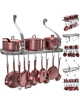 Vdomus Square Grid Wall Mount Pot Rack, Bookshelf Rack With 10 Hooks, Kitchen Cookware, 24 By 10 Inch (Sliver) by Vdomus