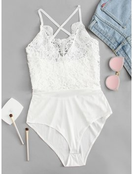 Lace Crochet Contrast Tie Back Bodysuit by Sheinside