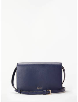 Dkny Bryant Small Flapover Leather Cross Body Bag, Navy by Dkny