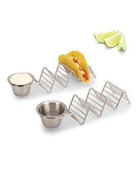 2 Lb. Depot Taco Shell Holder, Stainless Steel Taco Rack Hard Soft Taco's, 2 Pack, 5 Styles Available (Holds 3 Tacos With Cup) by 2 Lb. Depot