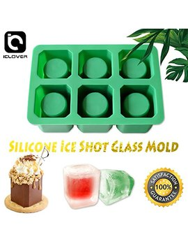 Ic Iclover Silicone Ice Shot Glass Mold, 6 Cups Square Green Ice Cube Tray, Jelly Tray, Chocolate Mold, Food Grade Silicone Ice Shot by Ic Iclover