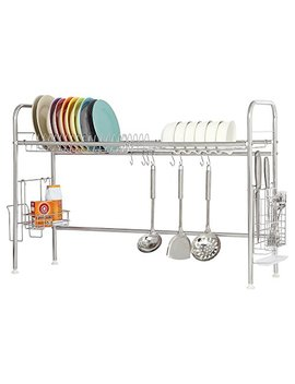 Nex Dish Drying Rack Stainless Steel Dish Storage With Chopstick Holder Rrustless(Single Layer) by Nex
