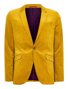 Mustard Corduroy Super Skinny Blazer by Topman