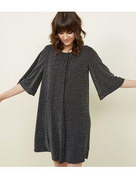 Black Glittery Gathered Neckline Swing Dress by New Look