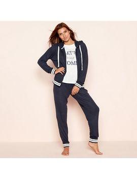 Lounge & Sleep   Navy Three Piece Knit Look Loungewear Set by Lounge & Sleep