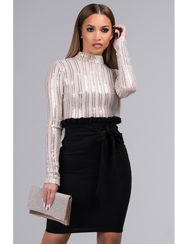 Flashy Much High Neck Long Sleeve Sequin Crop Top by Akira