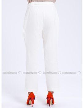 White   Ecru   Pants by Modanisa