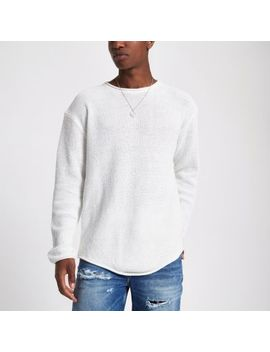 Ecru Knit Long Sleeve Slim Fit Jumper by River Island