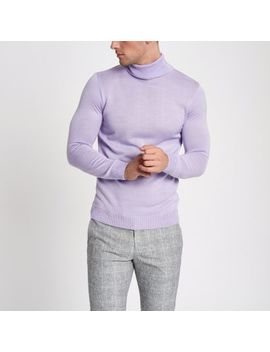 Light Purple Slim Fit Roll Neck Jumper by River Island