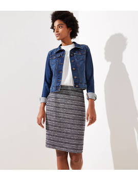 Striped Tweed Pencil Skirt by Loft