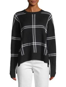 Windowpane Plaid Print Sweater by Saks Fifth Avenue