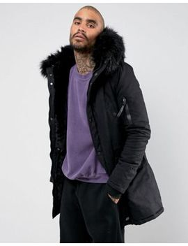 Sixth June Parka Coat In Black With Black Faux Fur Hood by Sixth June