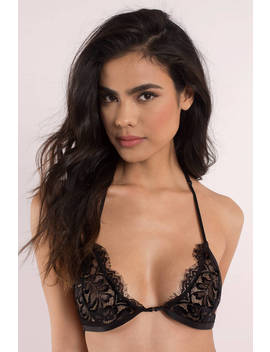 Laced With Love Black Strappy Bralette by Tobi