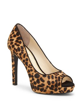Dalyn Leopard Peep Toe Pumps by Jessica Simpson