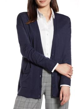 Halogen(R) V Neck Merino Wool Cardigan (Regular & Petite) by Halogen