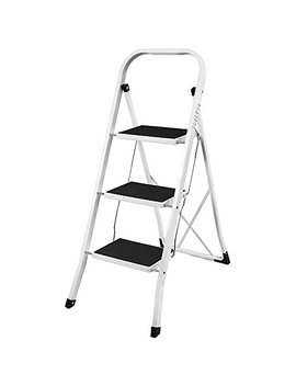 Home Discount 3 Step Ladder, Heavy Duty Steel, Folding, Portable With Anti Slip Mat by Home Discount
