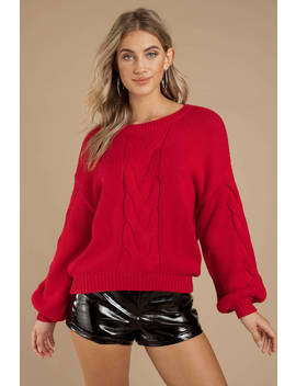 All The Feels Red Cable Knit Sweater by Tobi