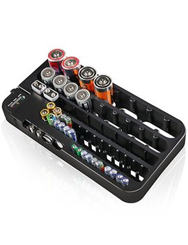 D Fanti X Battery Organizer And Tester Aa Aaa Battery Storage Case Black Large, 72 Batteries Holds by D Fanti X