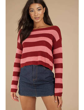 Caroline Wine Striped Sweater by Tobi
