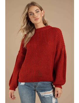 Drop It Orange Drop Sleeve Sweater by Tobi