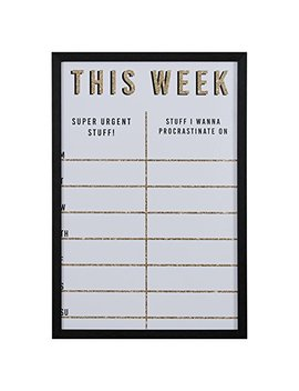 "Modern This Week Gold Glitter Dry Erase Board, 16"" X 24"" by Rivet"
