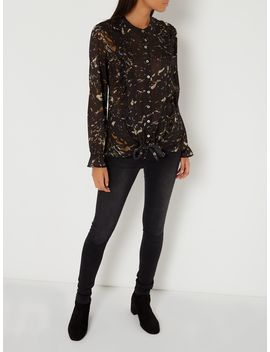 Marble Print Tie Front Blouse by Label Lab