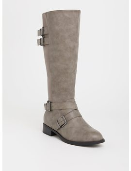 Grey Faux Leather Buckle Boot (Wide Width & Wide To Extra Wide Calf) by Torrid