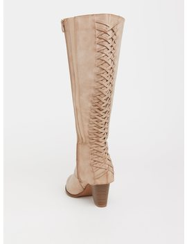 Tan Lattice Knee Boot (Wide Width, Wide Calf & Extra Wide Calf) by Torrid