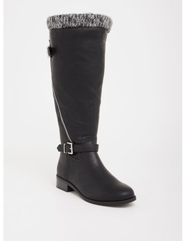 Black Knit Trimmed Knee Boot (Wide Width & Wide Calf) by Torrid