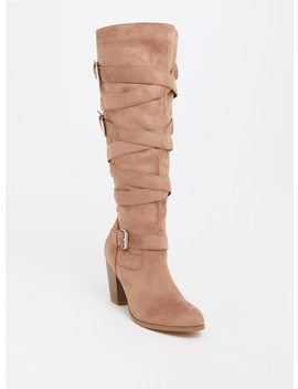 Tan Strappy High Heel Boot (Wide Width & Wide To Extra Wide Calf) by Torrid