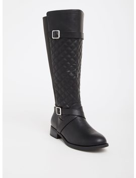 Black Quilted Faux Leather Knee Boot (Wide Width & Wide Calf) by Torrid