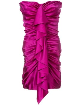 Strapless Satin Ruched Mini Dress by Alexandre Vauthier