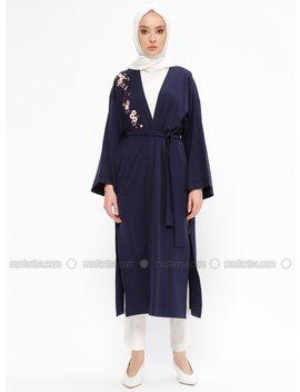 Navy Blue   Unlined   Topcoat by Modanisa