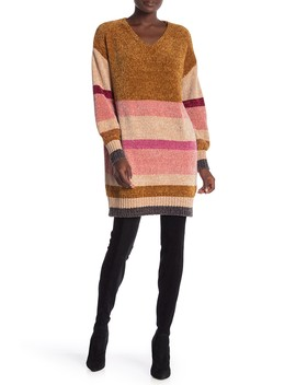Multistripe V Neck Chenille Sweater Dress by Solutions