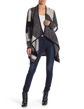 Check Waterfall Cardigan by Lucky Brand